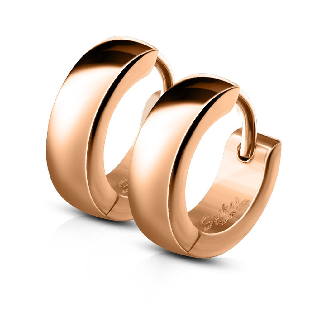 FifthCue Pair of Classic Plain Dome Hoop Huggie Stainless Steel Earrings Choose Color Rose Gold