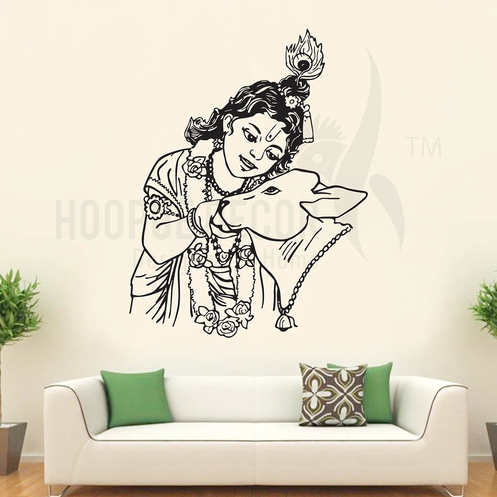 Wall stickers radha krishna - Buy Hoopoe Decor Bal Krishna With Cow Wall Stickers And Decals Small Online At Low Prices In India Amazon In