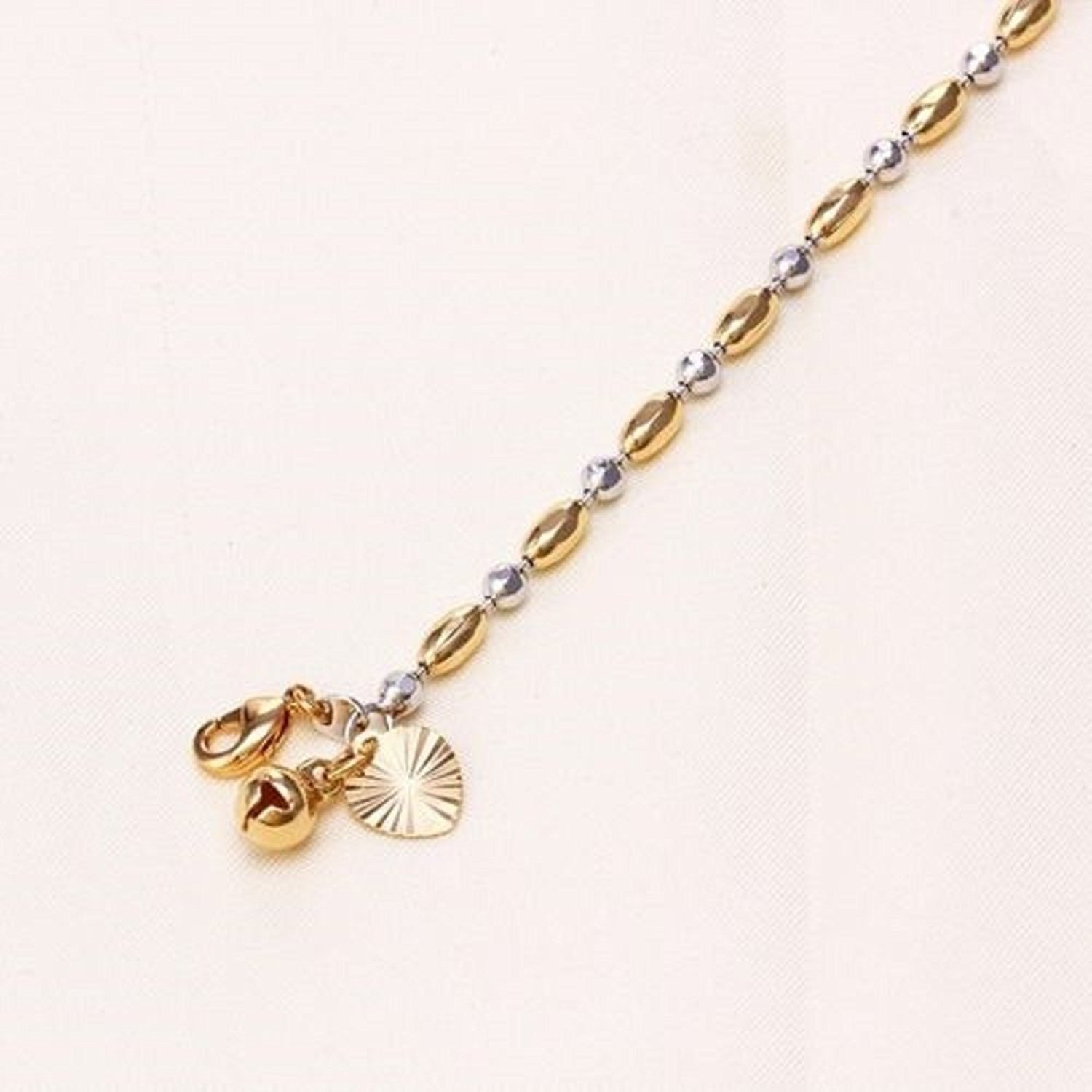 9ct 9k Yellow and White Gold Plate Ladies Girls Beaded ANKLE CHAIN,Heart & Bell ANKLET 10.6' Gift