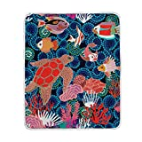 My Little Nest Hand Drawn Fishes Sea Turtle Corals Cozy Throw Blanket Lightweight Microfiber Soft Warm Blankets Everyday Use for Bed Couch Sofa 50'' x 60''