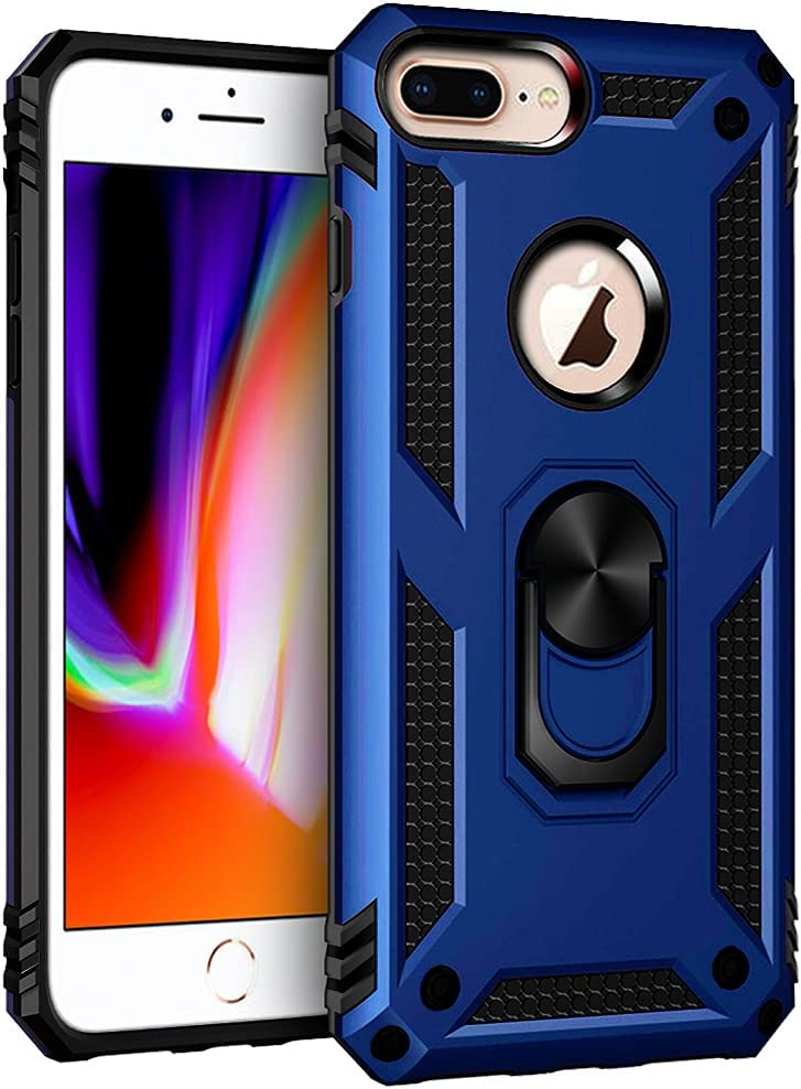 Korecase Compatible with iPhone 7 Plus iPhone 8 Plus Case, Extreme Protection Military Armor Dual Layer Protective Cover with 360 Degree Swivel Ring Kickstand Blue