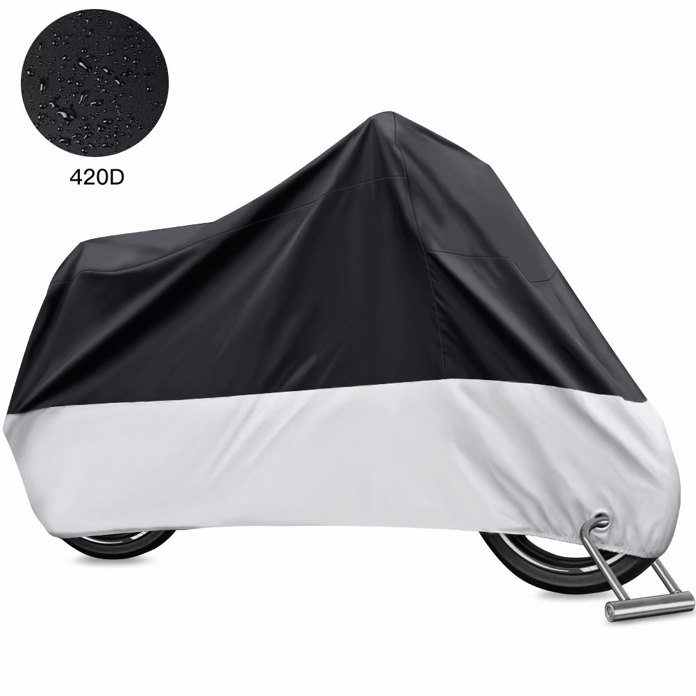 Oyeye Motorcycle Cover, All Season Waterproof Outdoor Protection, 420D Oxford Durable & Tear Proof, Fits up to 116'' Motors Like Honda, Suzuki, Yamaha, Harley Davidson and More (XXXXL)