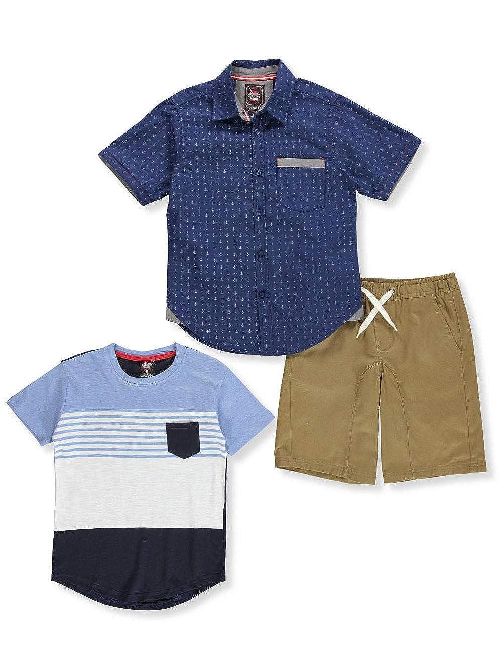 Retro Stitch Boys 3-Piece Shorts Set Outfit