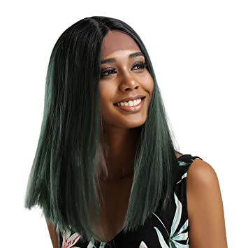 Amazon Com Midress Long Fluffy Bob Kinky Straight Hair Wigs