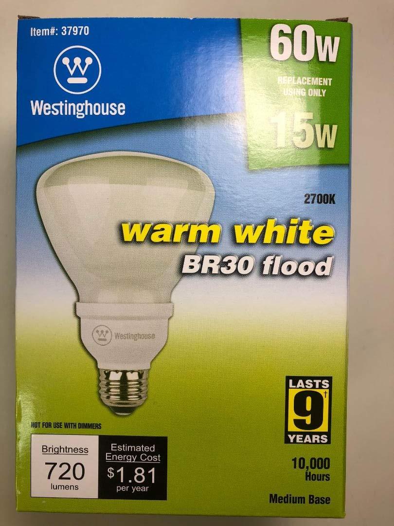 Westinghouse 37970 15CFLBR30/F/27 15W = 60W 720 Lumens 2700K CFL Medium Base BR30 Flood Warm White - 12 Pieces