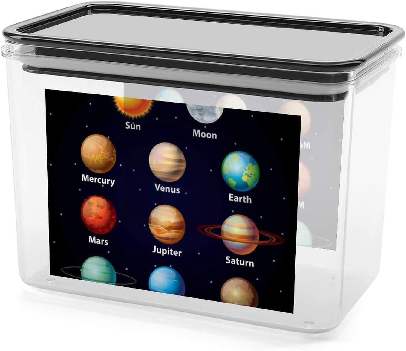 Planet Chart Visual Sealed Storage Box Food Container Flour Rice Sugar Baking Supplies Bulk and Pet Food Kitchen
