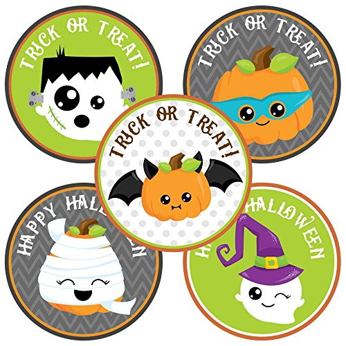 Happy Halloween Sticker Labels - Kids Trick or Treat Favor and Envelope Seal Labels - Set of 50