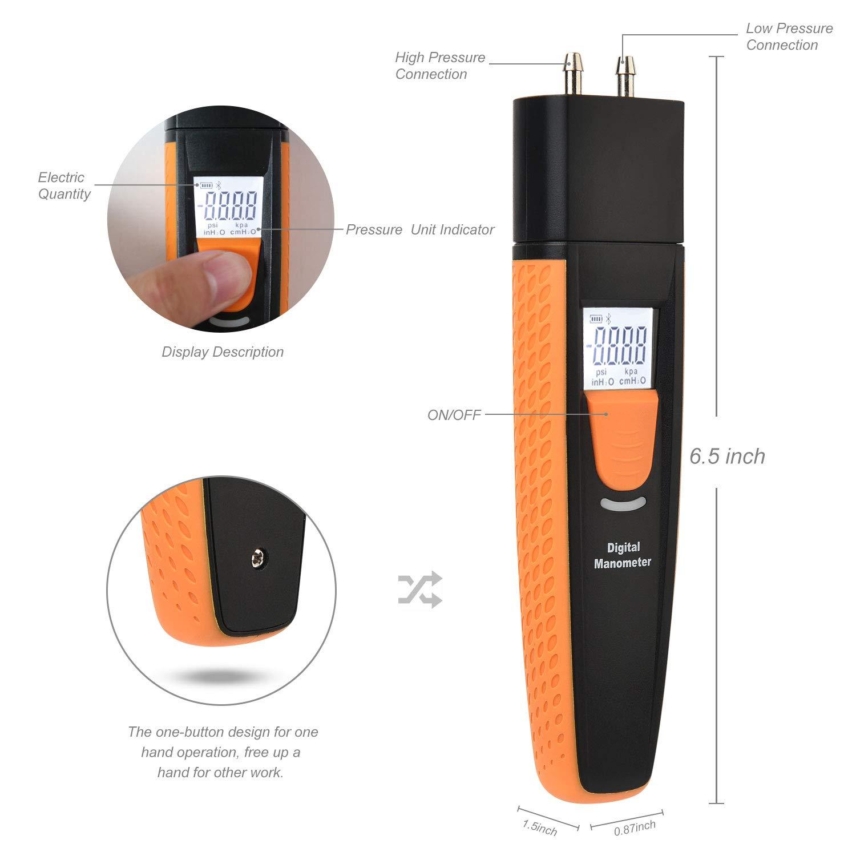 Bluetooth Digital Manometer Dual Port Luftdruckmesser Hlk Gastester Differenzdruckmanometer Hti Xintai Gewerbe Industrie Wissenschaft