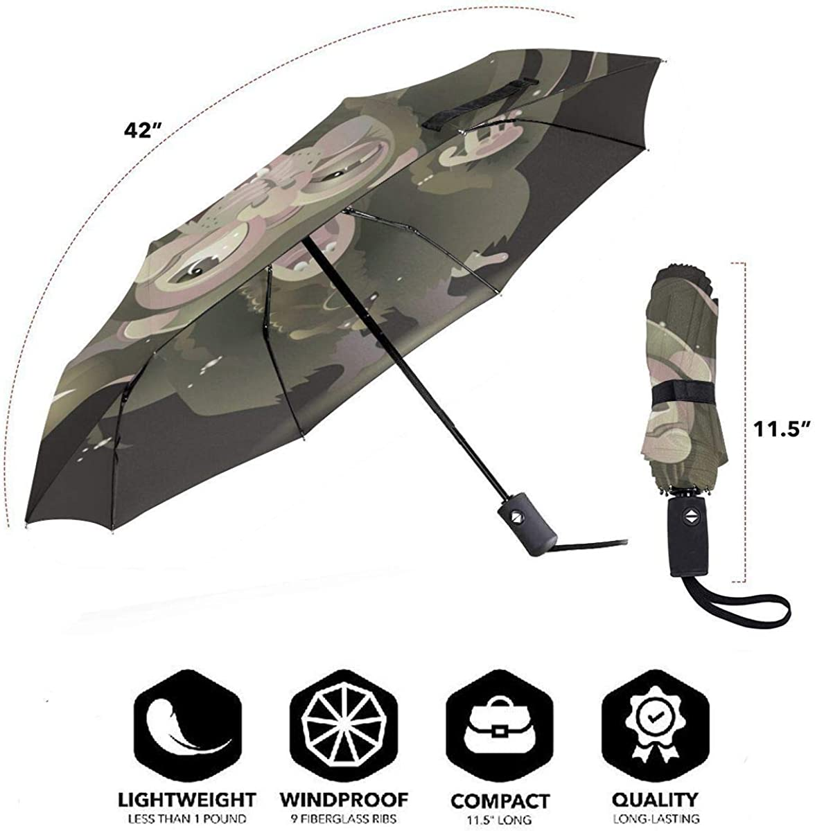Stars In Night Sky Compact Travel Umbrella Windproof Reinforced Canopy 8 Ribs Umbrella Auto Open And Close Button Personalized