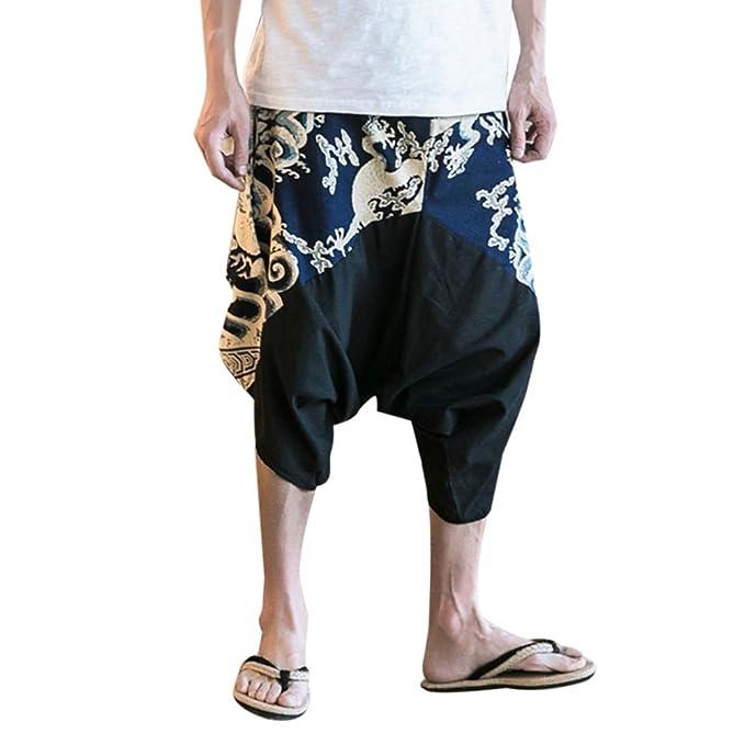 Zhhlinyuan Pantalones Cagados Cortos para hombres y mujeres Harem Pantalón  Baggy Yoga lino harén pantalones corte suelto cordón cintura elástica   Amazon.es  ... 270241acba8c