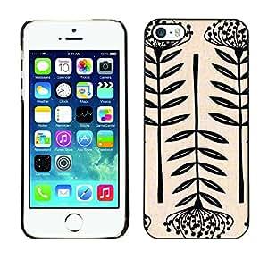 For Apple iPhone 5 / iPhone 5S Case , Art Blossom Black White Simplistic - Diseño Patrón Teléfono Caso Cubierta Case Bumper Duro Protección Case Cover Funda