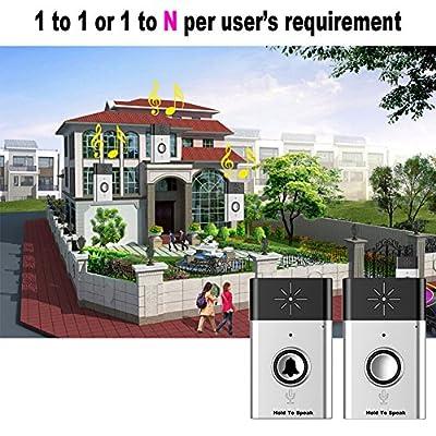 Awakingdemi Wireless Doorbell Chimes Button Bell With Speaker Voice Intercom 100M Distance