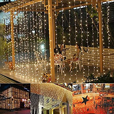 Ucharge Window Curtain Lights 29V 300 LED with 8 Modes 9.8ft x 9.8ft UL Listed