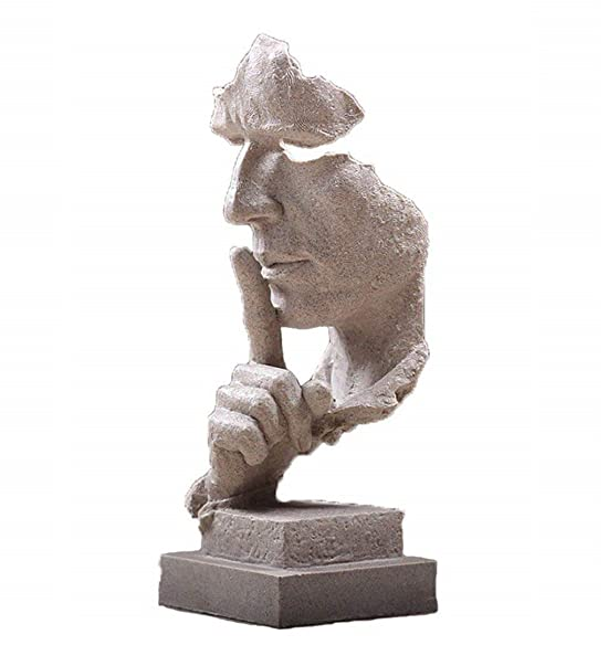 Creative Abstract Decor The Thinker Statue Face Hand Statues and Sculptures Office Desk Decor Keep Silence Figurine No Speak Sand
