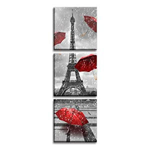 Jingtao Art Paris Eiffel Tower Art Paintings Red Umbrellas Flying on The Rain Wall Decor Posters Print on Canvas (1212inch3), Multi