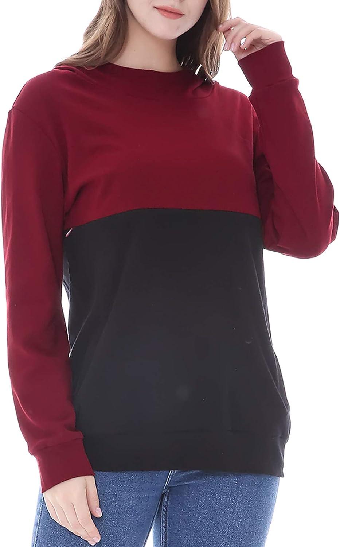 Women Nursing Breastfeeding Tops Casual Long Sleeves Patchwork Hooded Sweatshirt