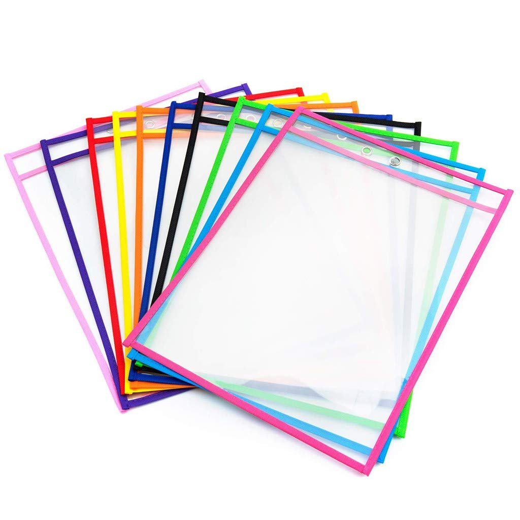 Gunel Dry Erase Pockets | Clear Plastic Reusable Sleeves | Multi-Colored Sheets | Teacher Supplies for Classroom Organization (Multicolor) by Gunel home
