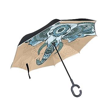 bennigiry Vector elefante indio diseño doble capa resistente al viento UV Protección reverso plegable paraguas para