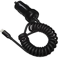 Amazon Basics 5V 2.4A opgerolde kabel lightning autolader, 0,46 meter, zwart