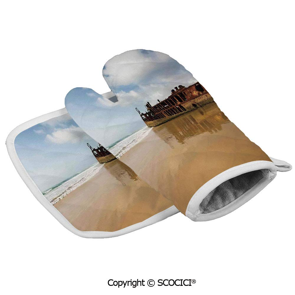 SCOCICI Oven Mitts Glove - Antique Rusty Pirate Ship Wreck on The Coast in Caribbean Island Pacific Sea Heat Resistant, Handle Hot Oven Cooking Items Safely