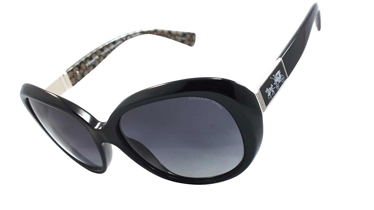 b511596020d1 Amazon.com: Coach Hc8120 (L094 Carter) 100% Authentic Women's Polarized  Sunglasses (Black / Black Military C) 5261t3: Clothing