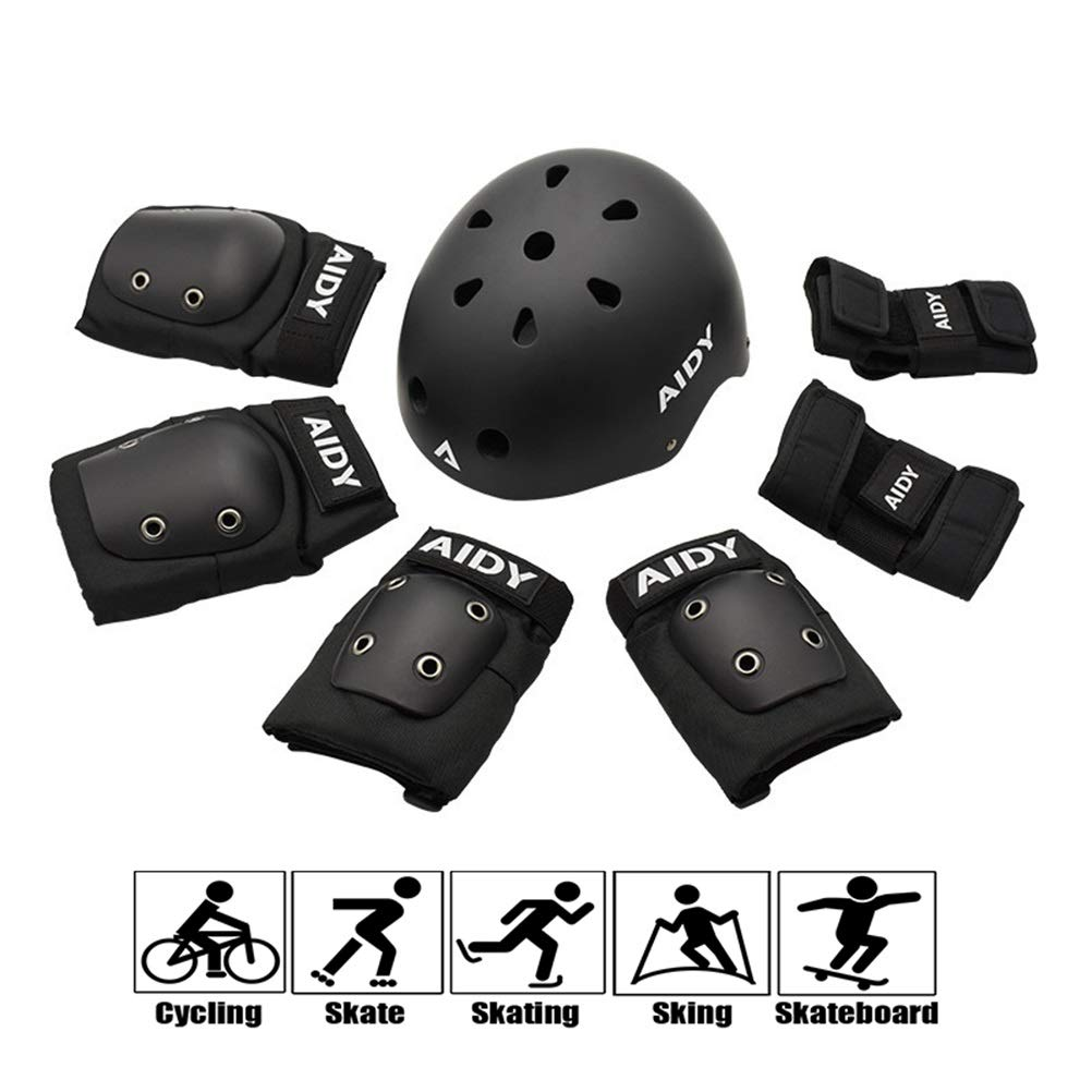 GYL-JL Black Protective Gear for Kids Cycling Knee Pads