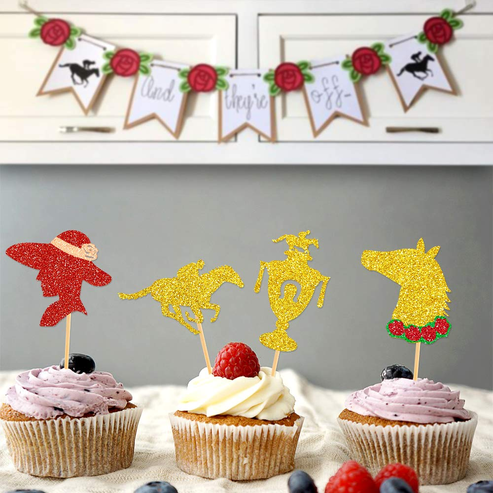 Kentucky Derby Party Supplies Horses Race Cupcake Toppers 24pcs Glitter Horse Themed Party Cake Decorations Derby Day Festival Cupcake Toppers for Kids or Adults