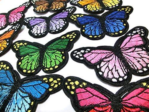 全10色 #2 バタフライ 蝶 チョウチョ ワッペン (ライトブルー)