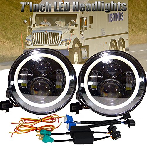 LED Headlights for International Harvester 4300 4400 4200, 7 Inch Round Sealed Beam Headlamps with Turning Signal Lights, Driving DRL Lamp, High Beam, Low Beam (Package of 2)