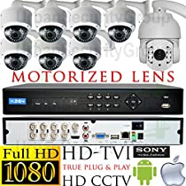 USG PTZ Business Grade 1080p 2MP HD-TVI 8 Camera CCTV Kit * 7x Motorized Lens 2.8-12mm Dome Camera & Bracket + 1x 5-50mm PTZ Camera + 1x 8 Channel 1080P DVR + 1x 4TB HDD * View On Apple & Android