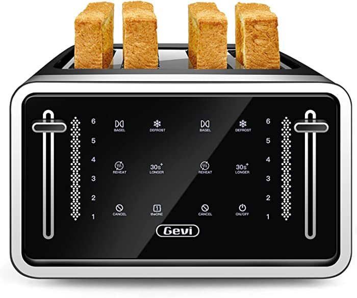 Gevi Toaster 4 Slice,Led Display Touchscreen Bagel Toaster with Dual Control Panels of Bagel/Reheat/Defrost/Cancel Function,6 Shade Setting