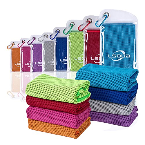 "Lsoua Super Absorbent Cooling Towel for Instant Relief - 40""12"" - for Sports, Workout, Fitness, Gym, Yoga, Pilates, Travel, Camping & More (Fluorescent Green, 40""x12"")"