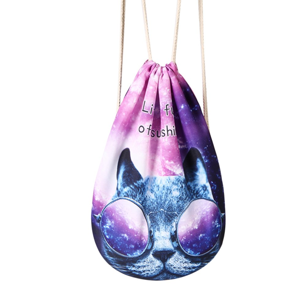 Runningtiger Unique Galaxy Print Drawstring Bag Travel Daypack Sports Portable Backpack Gym Bags (CH1507G1-52 Glass Cat)