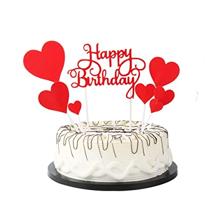 Amazon.com: YUINYO Red Happy Birthday Cake Toppers letters