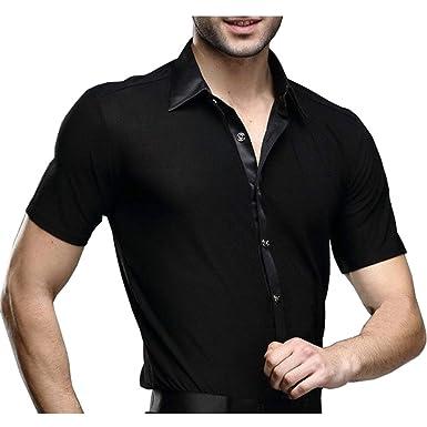 dd33f0dc4ad9 Hao Run Men Dance Shirt Ballroom Modern Salsa Samba Smooth Latin Short  Sleeve Tango (Black