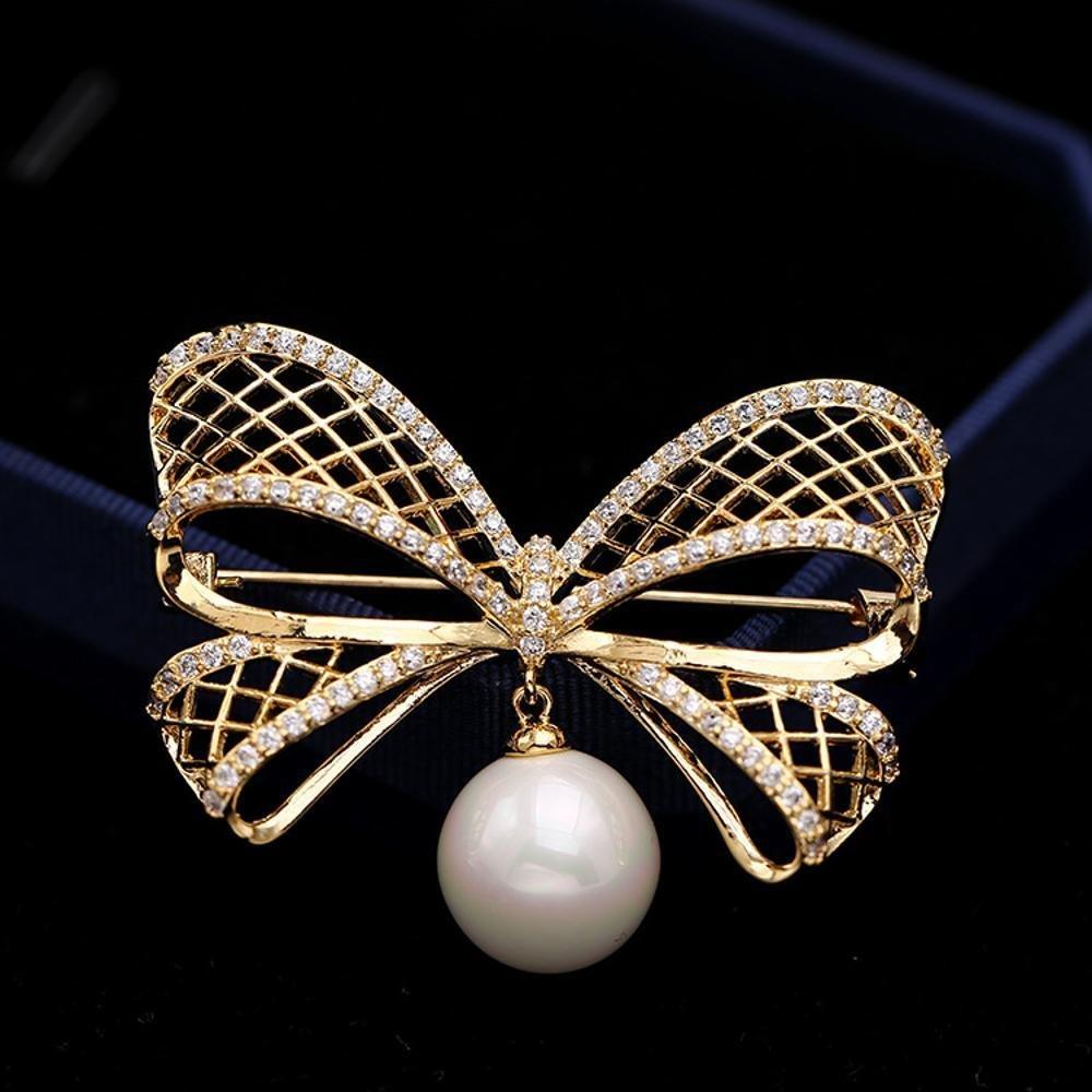 Ludage Hebilla de seda toalla de circón incrustaciones de micro mariposa nudo perlas broche broche: Amazon.es: Hogar