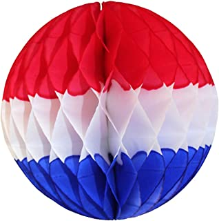 product image for 3-Pack Large 14 Inch Honeycomb Tissue Paper Party Ball Decoration (Patriotic - Red/White/Blue)