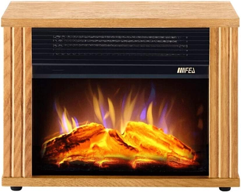 ZHUAN Gas Fireplace Electric Fireplace,Electric Stove Fireplaces,900W/1800W Freestanding Electrical Fireplace Indoor Heater Stove Log Wood (Brown)