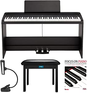KORG B2SP 88-Key Digital Piano with Stand + 3 Pedal Unit bundle with Knox Gear Bench, Music Light and Focus Piano Book/CD (4 Items)