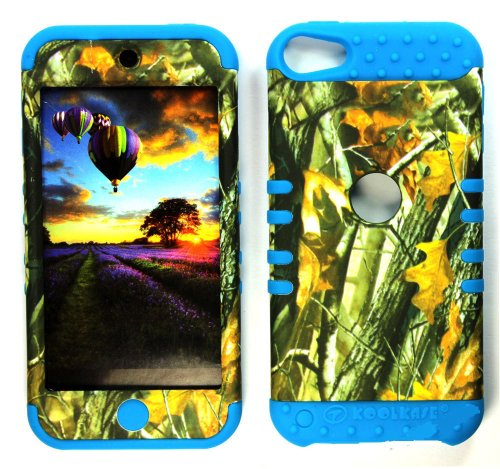 CellPhone Trendz Hybrid 2 in 1 Case Hard Cover Faceplate Skin Blue Silicone and Camo Mossy Hunter Big Branch Oak Snap Protector for Apple iPod iTouch 5 (5th Generation)