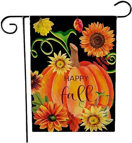 Amazon Com Fall Thanksgiving Garden Flag 12 X 18 Inches Pumpkin Autumn Harvest Sunflower Decorative Welcome Double Sided Yard Flag Garden Outdoor