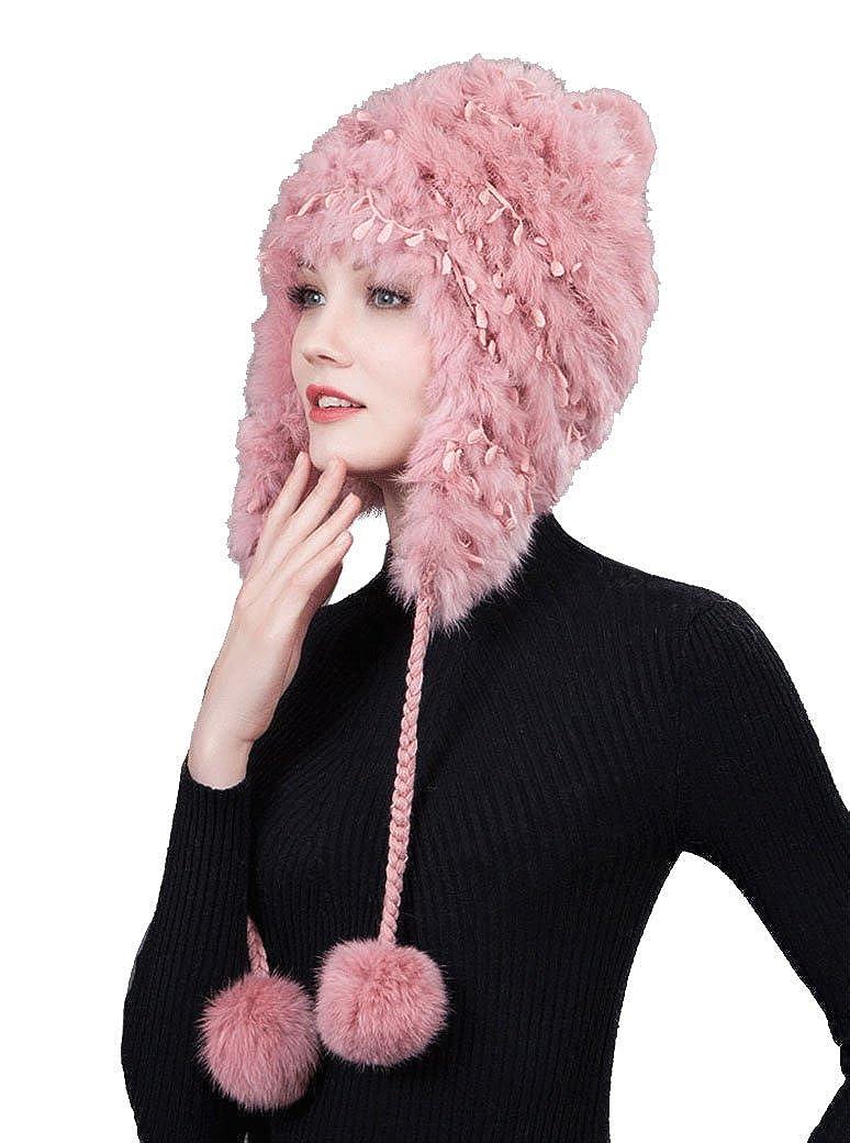 Roffatide Women Imitation Fur Knitting Hat with Fluffy Pompon Ear Flaps Beanie Aviator Bonnet Bomber Cap