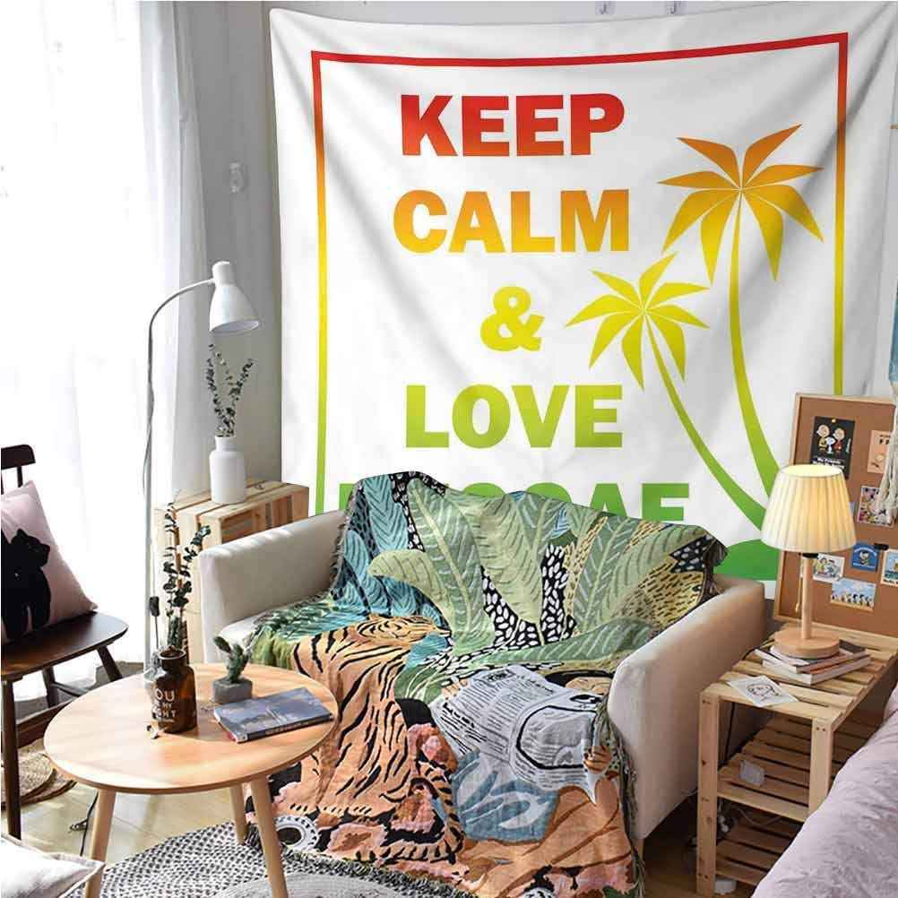VVA Rasta Tapestry Wall artKeep Calm and Love Reggae Quote in Ombre Rainbow Colors Music Themed Ream Wall Decor Blanket for Bedroom Home Dorm,?Light Green Red and Yellow