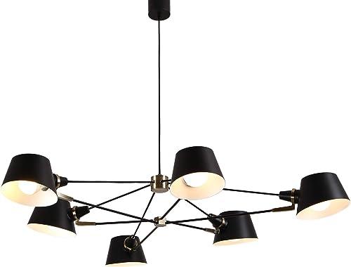 AIDOS 6-Light Midcentury Chandelier Light, Metal Sputnik Pendant Lights, Modern Ceiling Light Fixtures for Kitchen Island Dining Room Living Room