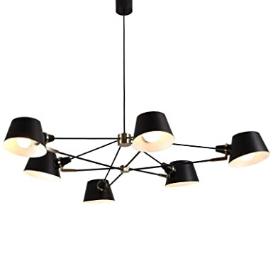 AIDOS 6-Light Metal Island Pendant Light, Mid Century Modern Sputnik Chandelier Ceiling Light, Fixtures Flush Mount Lighting for Restaurant Foyer Bedroom Hallway Dining room Bedroom Kitchen Restaurant