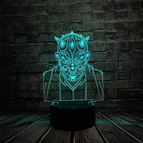 Mddjj Nuevo Darth Maul Vassal Jedi Knight Figura Lámpara Multicolor 3D Visual Touch Usb Led Dormitorio