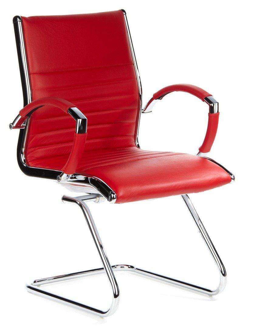 hjh OFFICE 660515 chaise visiteur de grande qualité, fauteuil à piétement luge PARMA V blanc en cuir véritable avec accoudoirs en aluminium chromé, dossier et assise matelassés, siège au design moderne et &e