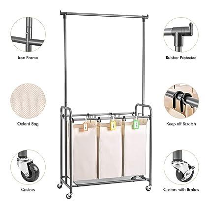 Amazoncom Xcsource Laundry Sorter With Hanging Bar Laundry Hamper