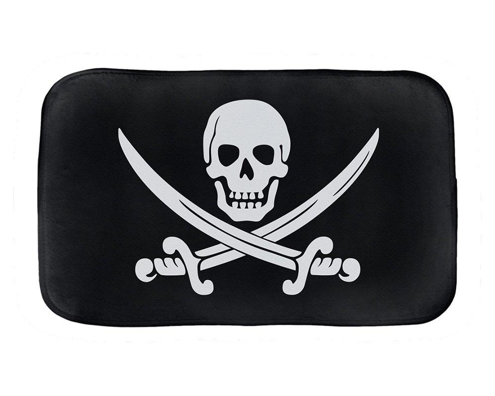 Calico Jack Pirate Jolly Roger Bathmat (21 in x 36 in)