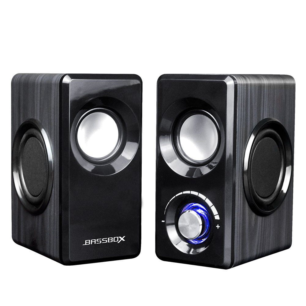 BASSBOX USB 2.0 Channel Computer Speakers with Stereo Sound for Mac, PC, Laptop, Smart Phone and More